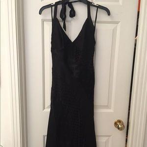 Betsey Johnson Black Silk, Rayon Halter Dress Sz 6